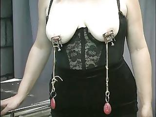 grownup plump slave nipple clamped and teased