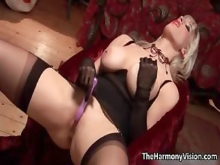 naughty blond grown-up lady with big tits