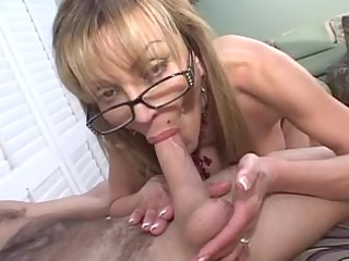 old breasty golden-haired sucks huge cock