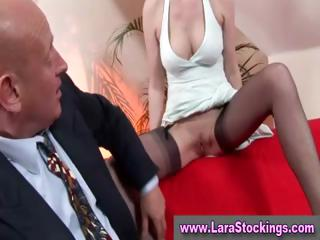 mature in nylons given mouth