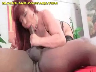 redhead girl licks and bangs hung black