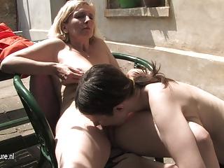young bushy lesbian daughter fucks a older bitch