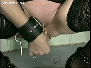 master put clamps of busty elderly slave her cunt
