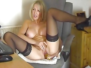 albino milf into nylons playing at the computer