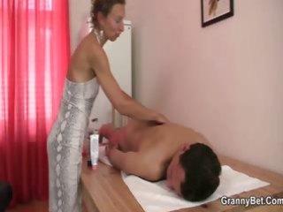 elderly masseuse obtains her shaggy aperture