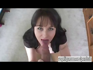 desperate brunette lady gives a hot fellatio