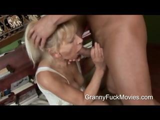 inexperienced stud pounding a skinny elderly