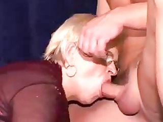 granny takes double penetrated with facial