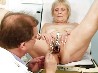 filthy albino elderly obtains her pussy gaped at