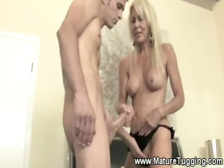 granny girl gives male his first handjob