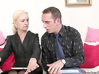 old blond takes two penises
