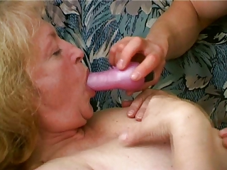 chubby old enjoys cum dripping from her chin
