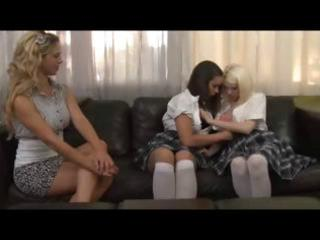 two schoolgirls and mature blond have a dike