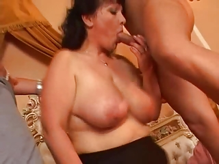 horny grown-up stockings fucks two cocks