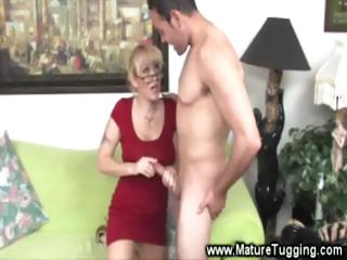 sweet spex milf makes love with her hands