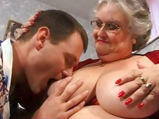 chubby grandma in brown with large tits obtains