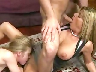 woman and her stepdaughter shares on cock
