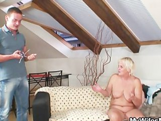 naughty elderly seduces her son inside law