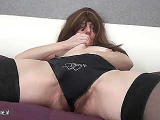 hirsute grown-up mother and her giant vibrator