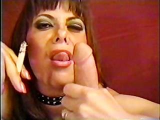 older girl licking smoke and manmeat