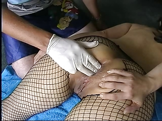 inexperienced milf into fishnets butt fingering