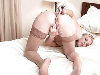 hirsute lady anal device insertion
