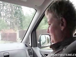 cougar super hitchhiker giving cock sucking to