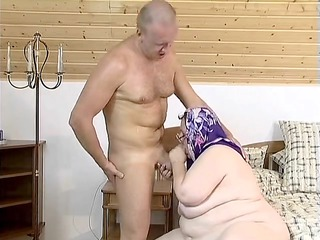 insatiable elderly receives herself off