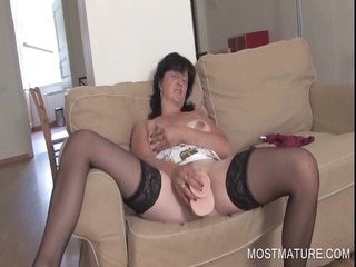 fuck toy piercing with mature babe