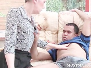 bleached cougar gets her bossom teased