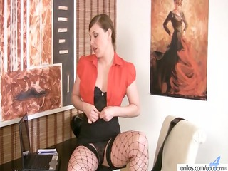 sexy woman into fishnets strips and pleases
