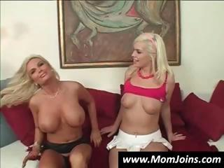 super young blond and woman own their vaginas