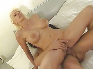 chubby chested blonde milf drives difficult tool
