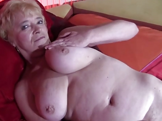 elderly inside pantyhose gets nude and spreads