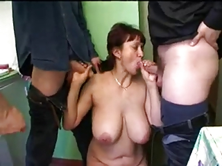 bushy russian milf and 3 young guys