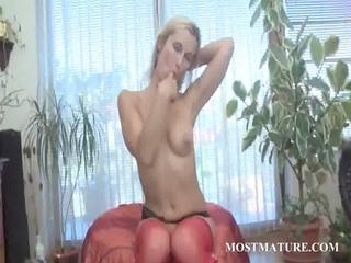 blond grownup prettie polishes light red slut